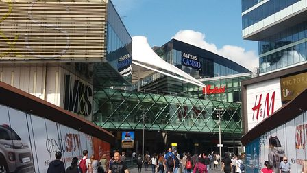 Shoppers at the Westfield Stratford City shopping centre before lockdown. Picture: Ken Mears