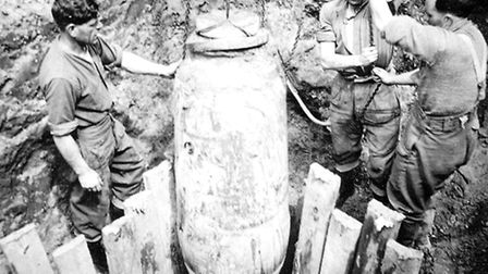 The Royal Engineer's Bomb Disposal Squad pictured with the bomb.