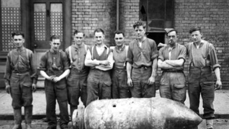 """A huge 1,000 kg bomb, known to the Germans as """"Hermann,"""" was dropped on Tonning Street in Lowestoft."""
