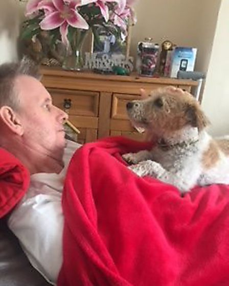 """A magical moment for the family: """"Our dog, Jinny, can't stop staring at him, trying to work out whe"""