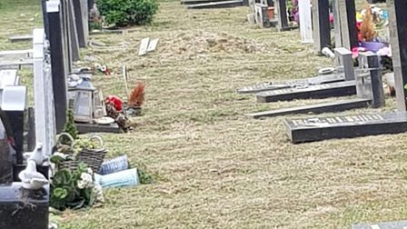 Dozens of memorials at Barkingside Cemetery were knocked down for health and safety regulations. Pic