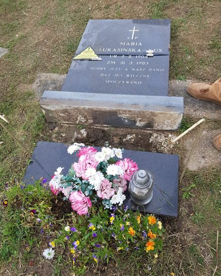 Irena Lukasinski was devastated to find her grandmother's headstone was laid flat as she thought it