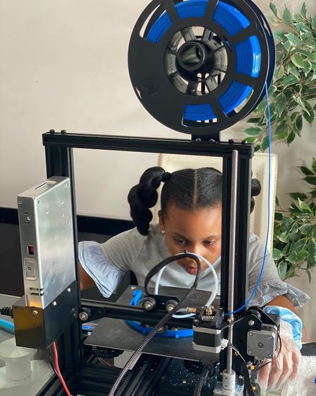 Nahla used a 3D printer at home to make 1,000 visors to donate to the NHS. Picture: Rose Russell