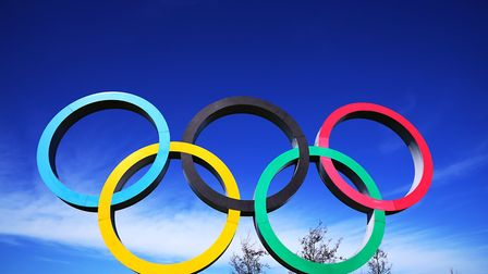 A general view of the Olympic rings near the Queen Elizabeth Olympic Park in London