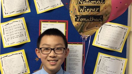 Jonathan Fan, 10, was the Key Stage 2 national winner in the poetry competition. Picture: Engayne Pr