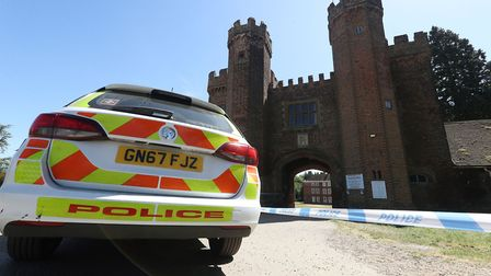 Police at the entrance to Lullingstone Castle after the incident in May. Picture: Yui Mok/PA