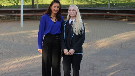 The Cumberland School pupil Kira Maiberg with assistant headteacher Amy Brown. Picture: Tom Barnes