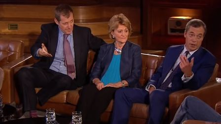 Alastair Campbell and Nigel Farage on The Late Late Show (Image: RTE)