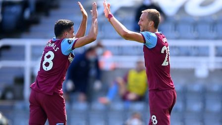 West Ham United's Tomas Soucek (right) celebrates scoring his side's second goal