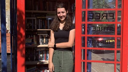 Niamh Connole has set up a street library at her father's workshop in Forest Gate. Picture: Niamh Co