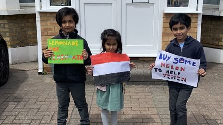 Ayaan Moosa, Aaria Ishaaq and Mikaeel Ishaaq raised �4,500 at their Lemonade for Yemen-Aid stand. Pi