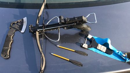 A crossbow was among the weapons seized. Picture: Essex Police