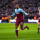West Ham United's Sebastien Haller celebrates scoring against Southampton at London Stadium