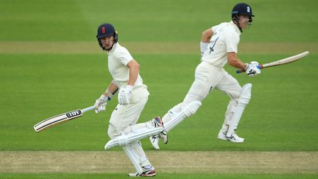 England's James Bracey (left) and Joe Denly add to the Team Buttler total against Team Stokes on day