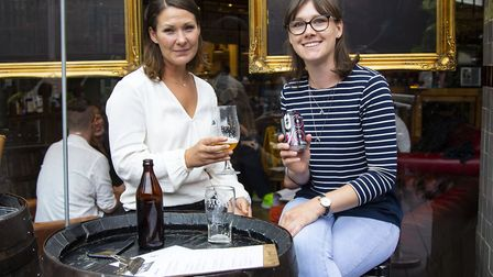 Laura Hill and Pip Wills at Tap East in Stratford which opened its doors to serve its first drinks s