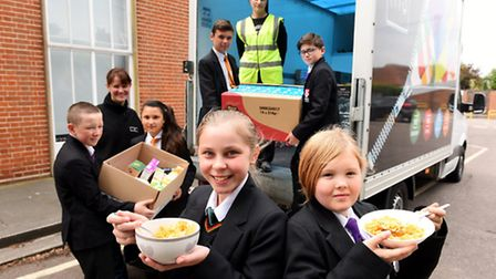 Kellogg's cereal donation from a charity called His Church Charity. Champions, School Breakfasts For