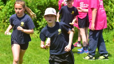 Youngsters from Woods Loke primary school take part in a charity race for life event.PHOTO: Nick But