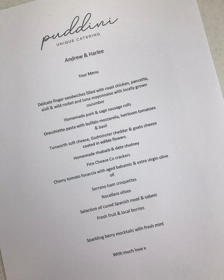 The Dream Factory created this menu for newlywed Andrew, who is terminally ill at the Addenbrooke's