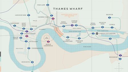 The location of the new Thames Wharf DLR station on the network's map. Picture: Keystone
