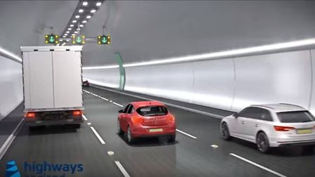 A CGI of the proposed 14.5 mile tunnel. Picture: Highways England