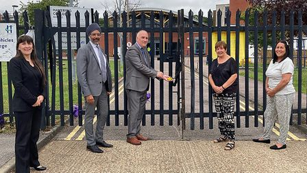 The gates are locked at Havering Colleges' Quarles campus in Harold Hill. Left to right: assistant p