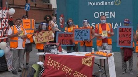 Campaigners from London Renters Union staged a protest in High Street North, East Ham, on Saturday,