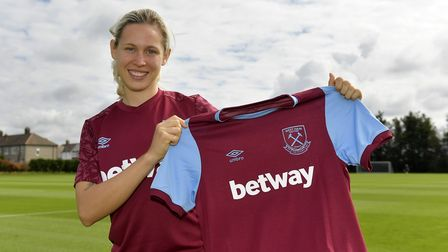 Katerina Svitkova shows off her West Ham shirt (pic Griffiths Photographers)