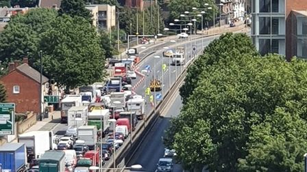 Gridlock on the A13 Newham Way as police shut the eastbound carriageway to recover ammunition. Pictu