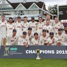 Essex players celebrate with the County Championship Trophy in 2019 (pic Gavin Ellis/TGS Photo)