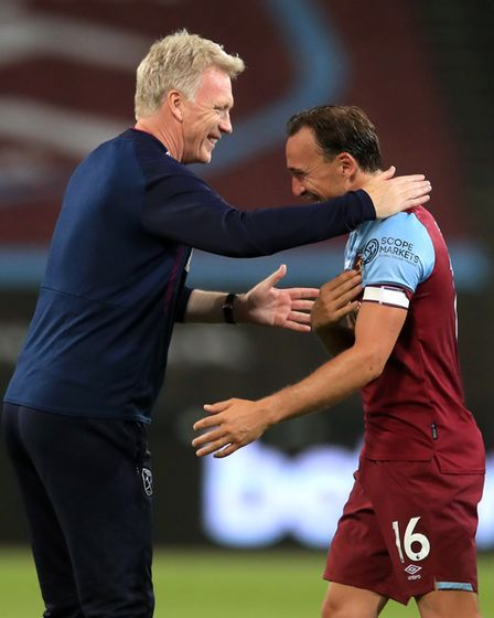 West Ham United manager David Moyes (left) and Mark Noble after the Premier League match against Waf
