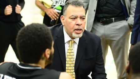 London Lions coach Vince Macaulay talks to his players (pic Graham Hodges)