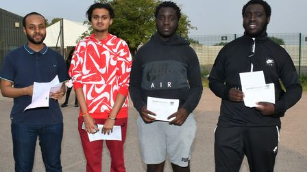 Oaks Park High School students L-R: Yusuf Farah, Jay Kayaiya and twins Tai and Kenny Odelusi. Pictur