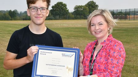 Headteacher Joanne Hamill pictured with James Lawrence, who is off to undertake employment