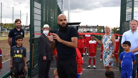 Frenford Youth Club Manager Irfan Shah speaking at the opening of the new stadium. Picture: Ken Mear