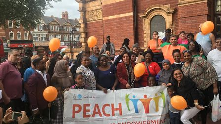 PEACH members with Newham Mayor Rokhsana Fiaz in September this year. Picture: Andrew Brookes.