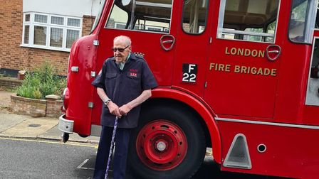 Ernie's pictured outside his Harold Wood home with a vintage fire engine. Picture: Harold Wood Fire