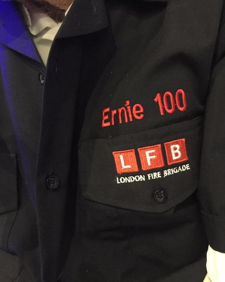 A specially customised London Fire Brigade jacket, made to mark Ernie's special day. Picture: Harold