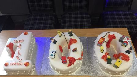 Ernie's birthday cake from Monday's celebration. Picture: Harold Wood Fire Station