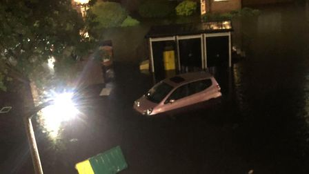 A submerged car in Stirling Close, Rainham. Picture: Faye Kristiansen