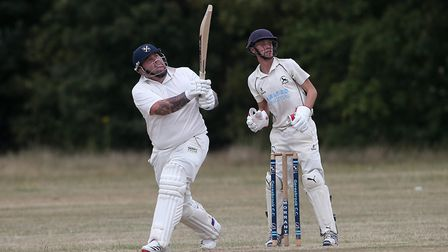 Alan Ison hits 6 runs for Upminster during Goresbrook CC vs Upminster CC (batting), Essex Cricket Le