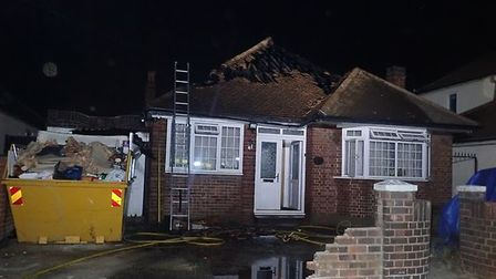 Most of the roof of a bungalow in Rainham was damaged by a fire last night; thankfully, no injuries