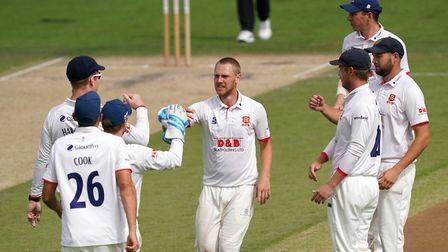 Essex's Jamie Porter celebrates the wicket of Sussex's Phil Salt during day four of the Bob Willis T