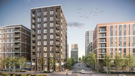 A computer generated image of what the planned 10 storey apartment block on the former RTS Motors si