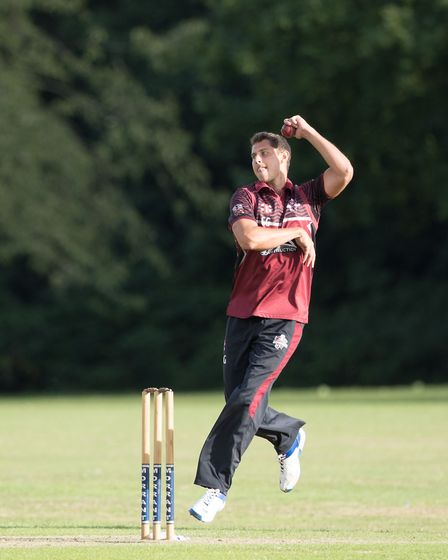 Charlie Griffiths of Brentwood in action during Hornchurch CC vs Brentwood CC, Essex Cricket League