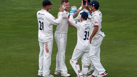Sam Cook of Essex celebrates taking the wicket of Lewis Gregory during Somerset CCC vs Essex CCC, Sp