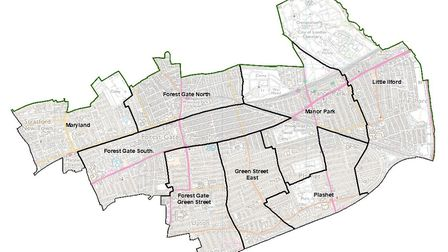 The revised plans for ward boundaries in the north of Newham. Picture: LGBC