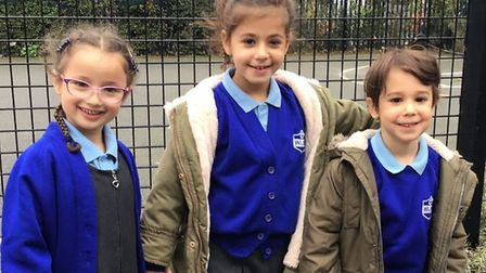 L-R: Returning Year 1 pupil Dahlia Gonshaw, pictured with her cousin Mya Konzon who is in Year 2 at