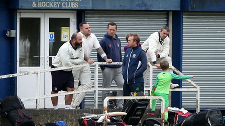 Upminster players in conversation during Upminster CC (batting) vs Ardleigh Green & Havering-Atte-Bo