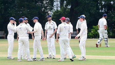 Woodford Wells celebrate claiming a wicket against South Woodford (Pic: Graham Hodges)