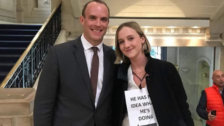 Dominic Raab and a young campaigner from Our Future Our Choice (Photograph: OFOC)